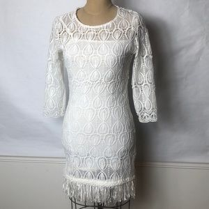 Goldie stretch lace dress with fringed hem